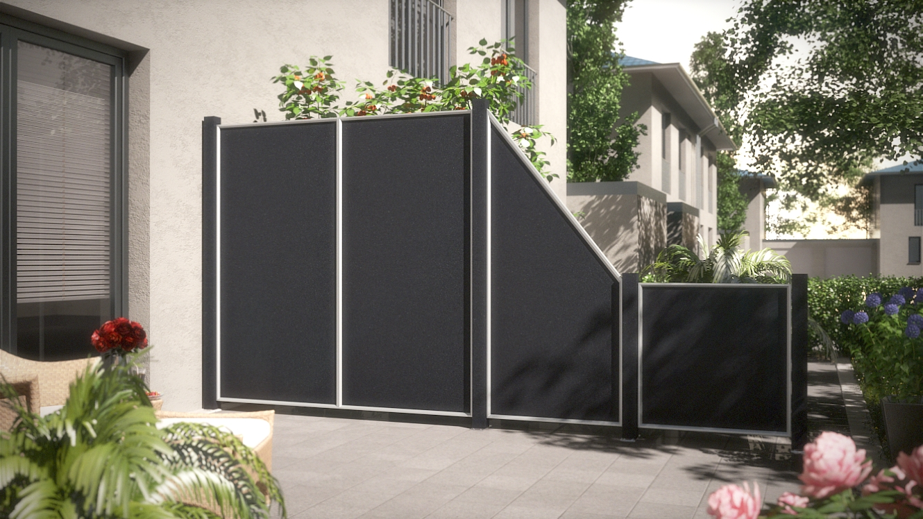 2 zaundesign terrasse stone dark traumgartenplaner. Black Bedroom Furniture Sets. Home Design Ideas